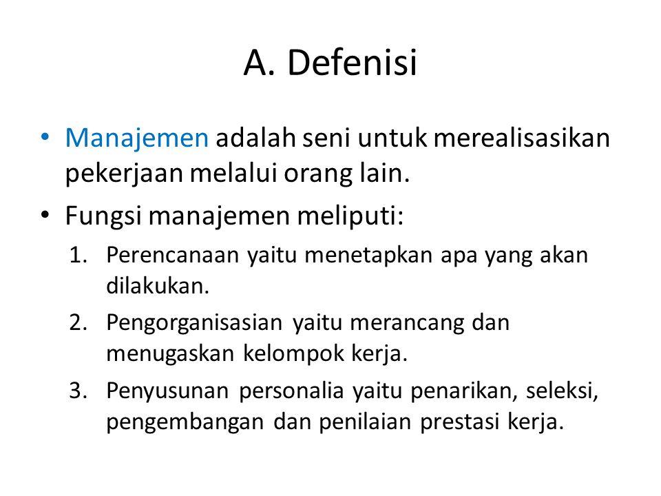 A. Defenisi Manajemen adalah seni untuk merealisasikan pekerjaan melalui orang lain. Fungsi manajemen meliputi: