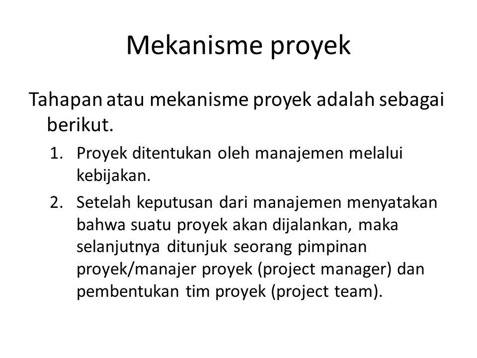 Mekanisme proyek Tahapan atau mekanisme proyek adalah sebagai berikut.