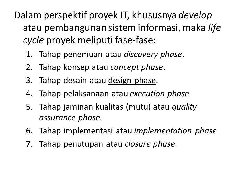 Dalam perspektif proyek IT, khususnya develop atau pembangunan sistem informasi, maka life cycle proyek meliputi fase-fase: