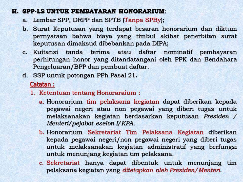 SPP-LS UNTUK PEMBAYARAN HONORARIUM:
