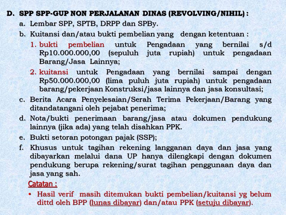 SPP SPP-GUP NON PERJALANAN DINAS (REVOLVING/NIHIL) :