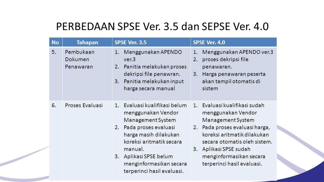 PERBEDAAN SPSE Ver. 3.5 dan SEPSE Ver. 4.0