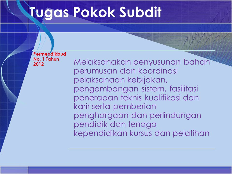 Tugas Pokok Subdit Permendikbud No. 1 Tahun 2012.