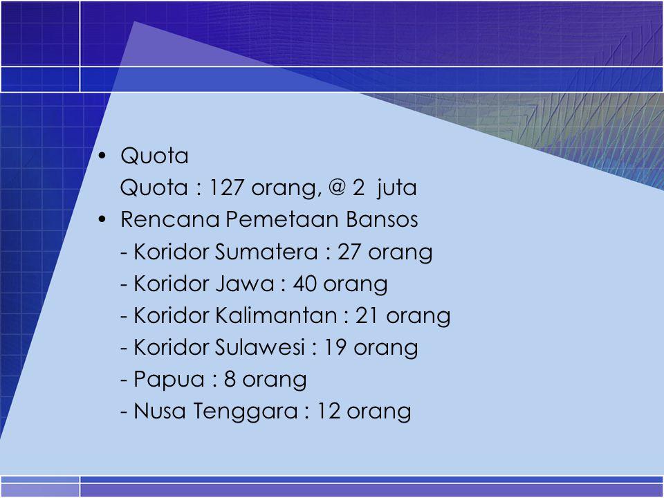 Quota Quota : 127 orang, @ 2 juta. Rencana Pemetaan Bansos. - Koridor Sumatera : 27 orang. - Koridor Jawa : 40 orang.