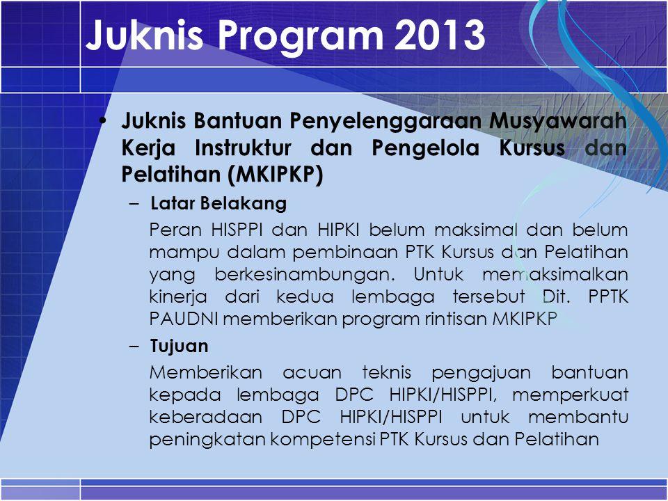Juknis Program 2013 Juknis Bantuan Penyelenggaraan Musyawarah Kerja Instruktur dan Pengelola Kursus dan Pelatihan (MKIPKP)