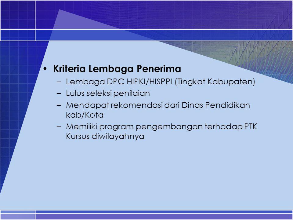 Kriteria Lembaga Penerima