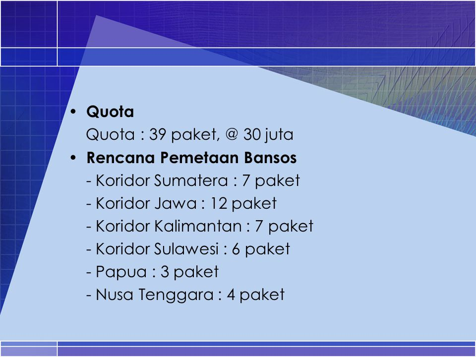 Quota Quota : 39 paket, @ 30 juta. Rencana Pemetaan Bansos. - Koridor Sumatera : 7 paket. - Koridor Jawa : 12 paket.