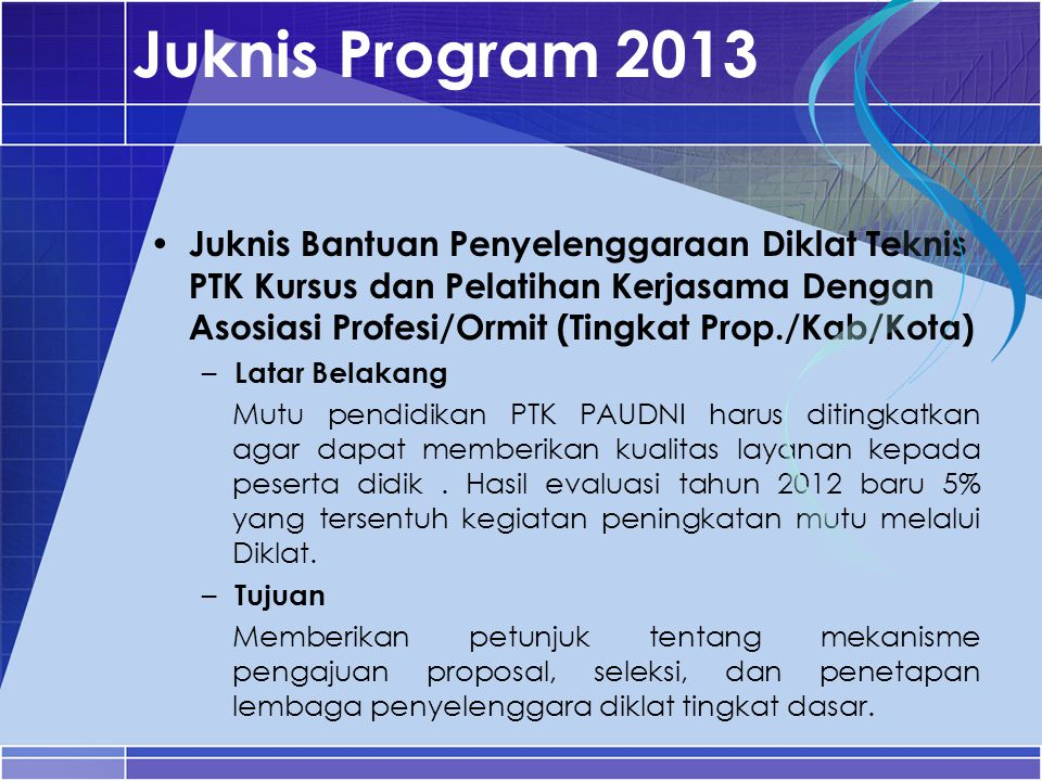 Juknis Program 2013