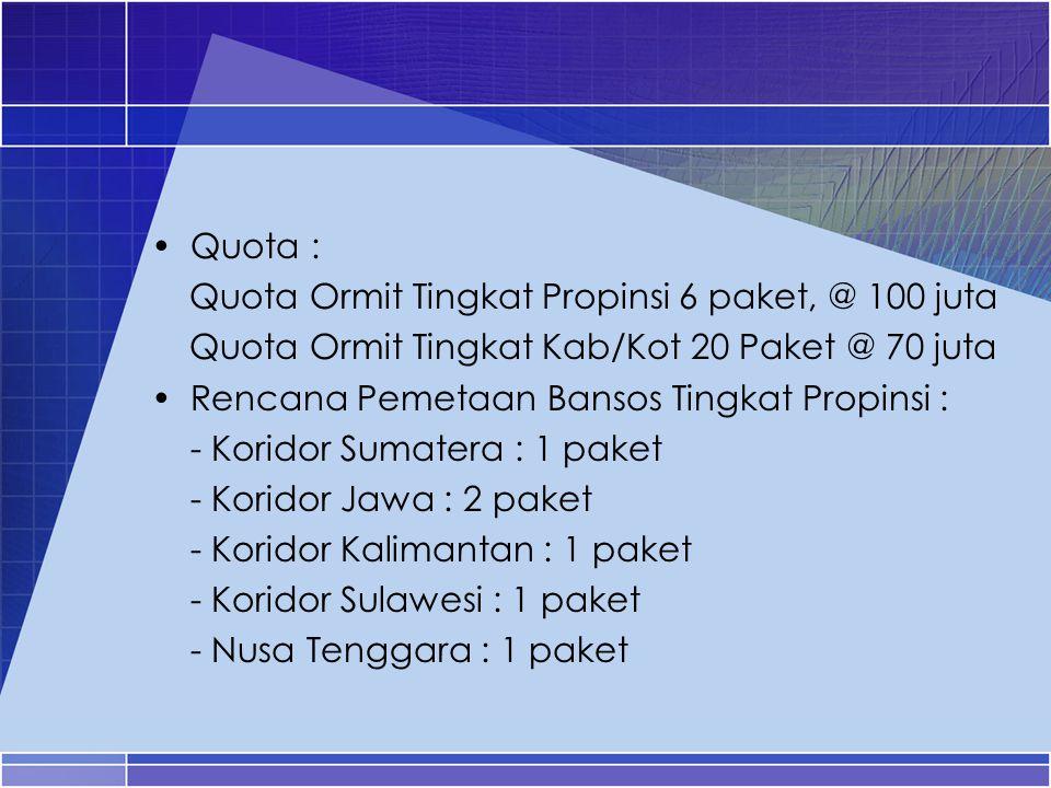 Quota : Quota Ormit Tingkat Propinsi 6 paket, @ 100 juta. Quota Ormit Tingkat Kab/Kot 20 Paket @ 70 juta.