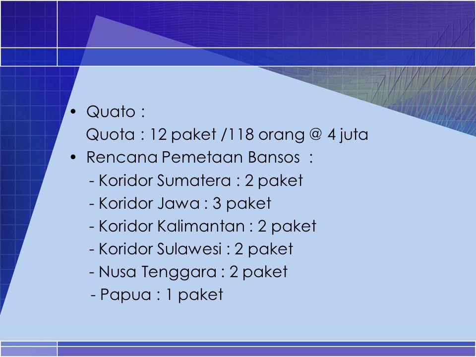 Quato : Quota : 12 paket /118 orang @ 4 juta. Rencana Pemetaan Bansos : - Koridor Sumatera : 2 paket.