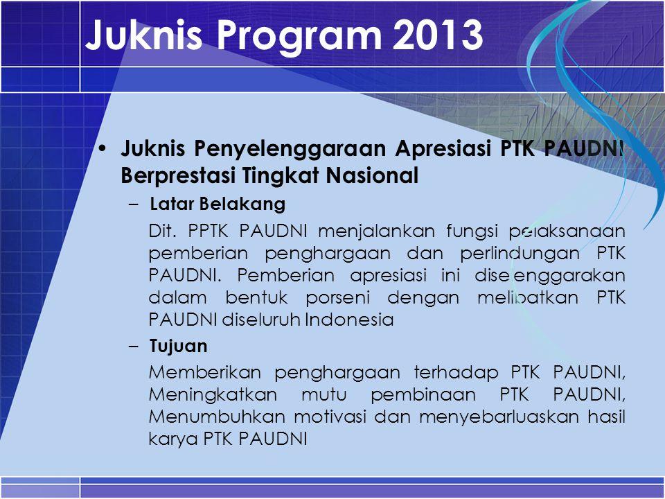Juknis Program 2013 Juknis Penyelenggaraan Apresiasi PTK PAUDNI Berprestasi Tingkat Nasional. Latar Belakang.