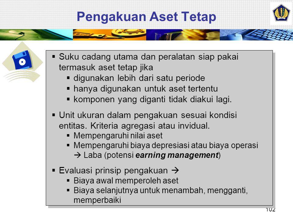 Pengakuan Aset Tetap Suku cadang utama dan peralatan siap pakai termasuk aset tetap jika. digunakan lebih dari satu periode.