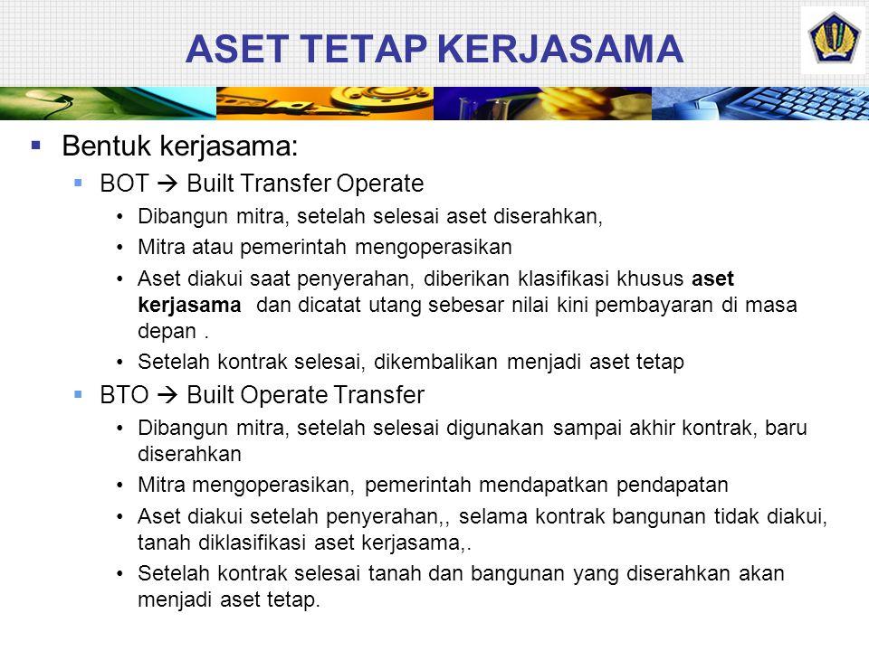 ASET TETAP KERJASAMA Bentuk kerjasama: BOT  Built Transfer Operate
