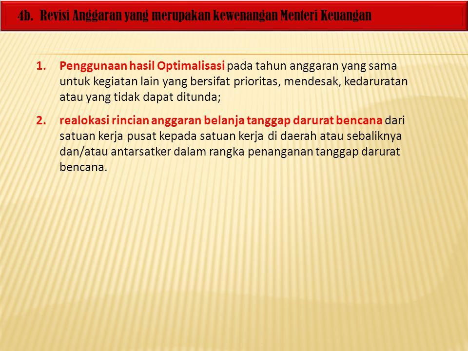 4b. Revisi Anggaran yang merupakan kewenangan Menteri Keuangan