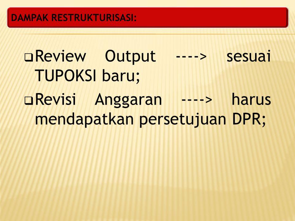 Review Output ----> sesuai TUPOKSI baru;