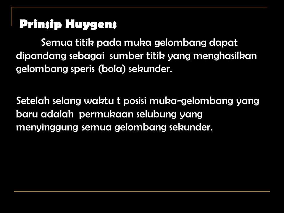 Prinsip Huygens Semua titik pada muka gelombang dapat dipandang sebagai sumber titik yang menghasilkan gelombang speris (bola) sekunder.