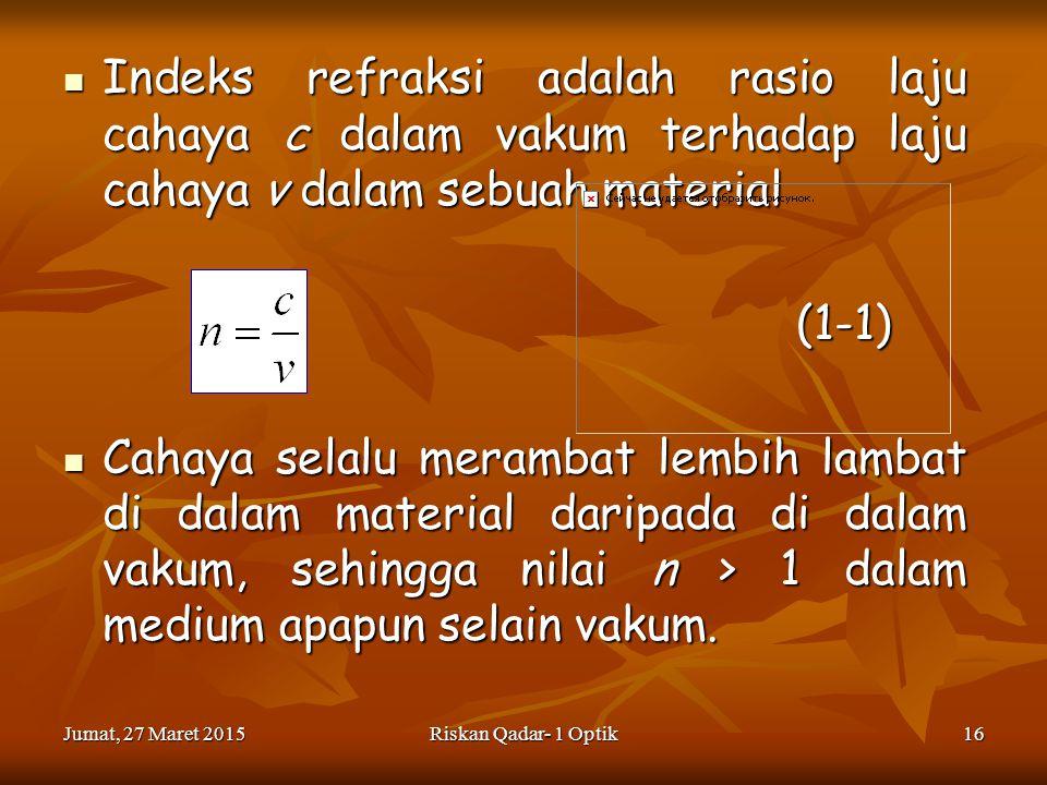 Indeks refraksi adalah rasio laju cahaya c dalam vakum terhadap laju cahaya v dalam sebuah material