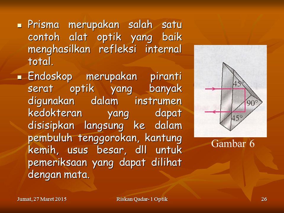 Prisma merupakan salah satu contoh alat optik yang baik menghasilkan refleksi internal total.