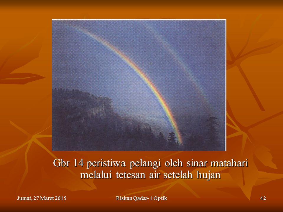 Gbr 14 peristiwa pelangi oleh sinar matahari melalui tetesan air setelah hujan