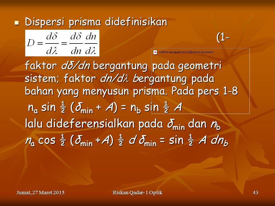 lalu dideferensialkan pada δmin dan nb