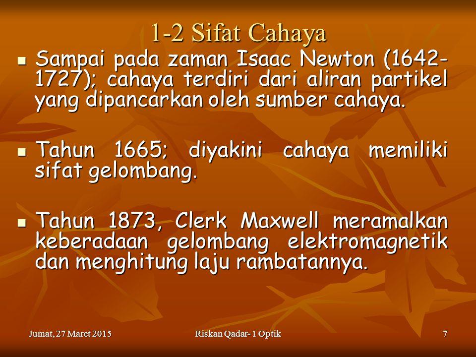 1-2 Sifat Cahaya Sampai pada zaman Isaac Newton (1642-1727); cahaya terdiri dari aliran partikel yang dipancarkan oleh sumber cahaya.