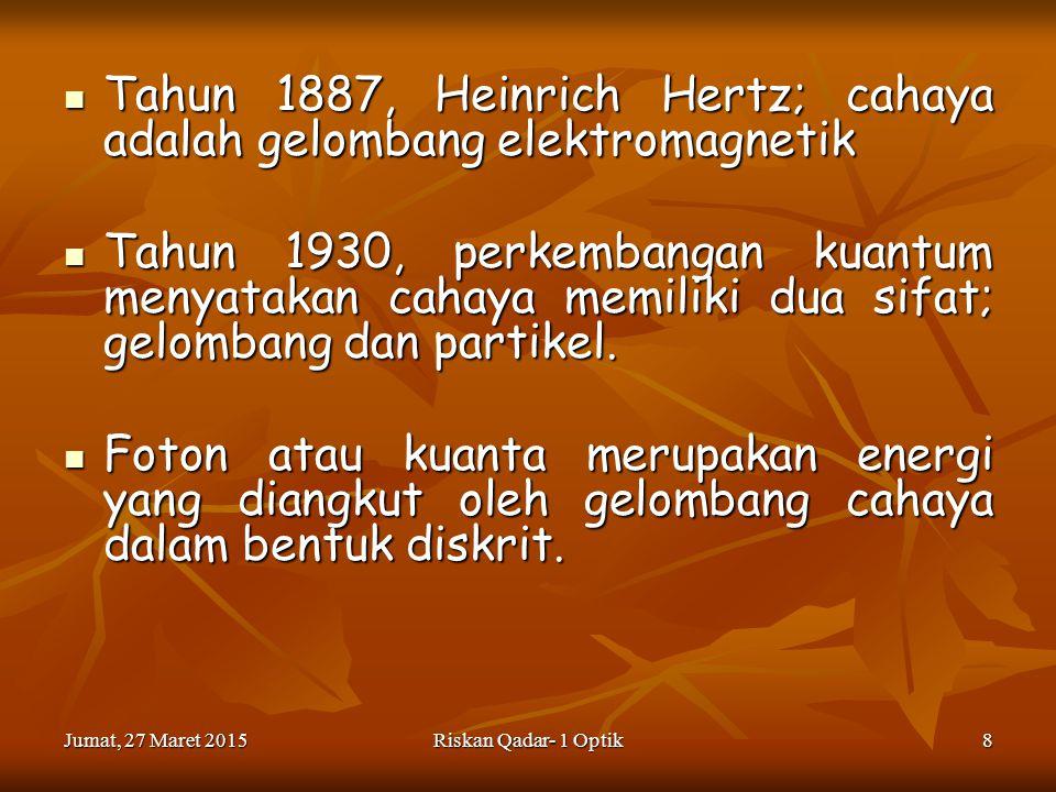 Tahun 1887, Heinrich Hertz; cahaya adalah gelombang elektromagnetik