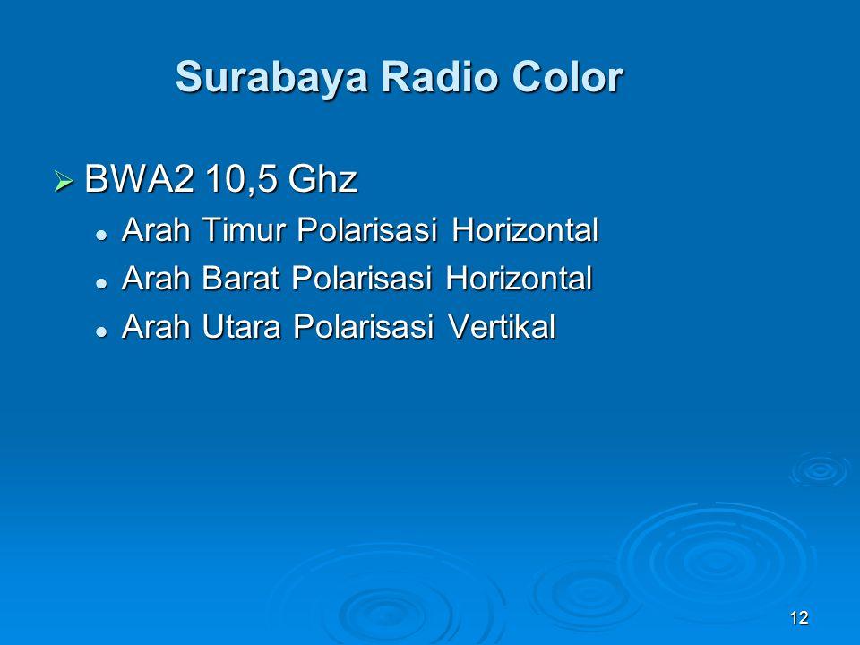 Surabaya Radio Color BWA2 10,5 Ghz Arah Timur Polarisasi Horizontal