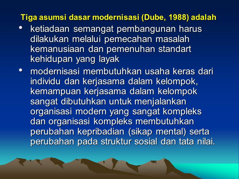 Tiga asumsi dasar modernisasi (Dube, 1988) adalah