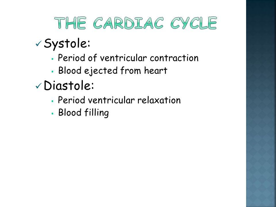 The cardiac cycle Systole: Diastole: Period of ventricular contraction