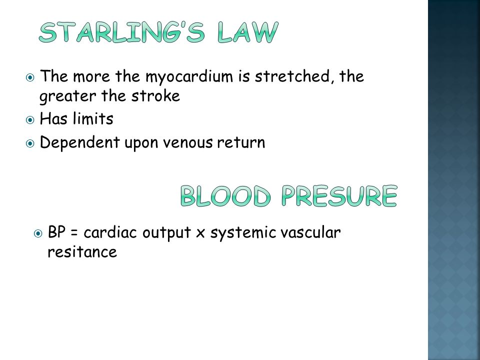 Starling's law Blood presure