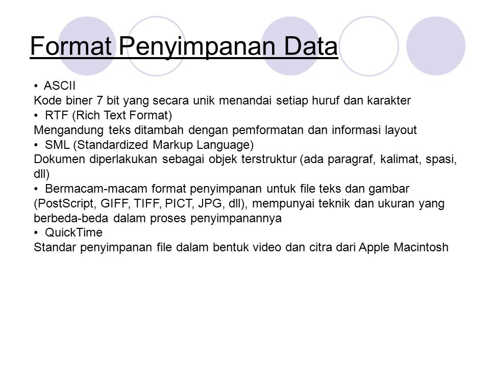 Format Penyimpanan Data