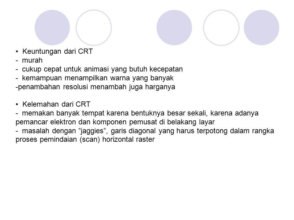 • Keuntungan dari CRT - murah. - cukup cepat untuk animasi yang butuh kecepatan. - kemampuan menampilkan warna yang banyak.