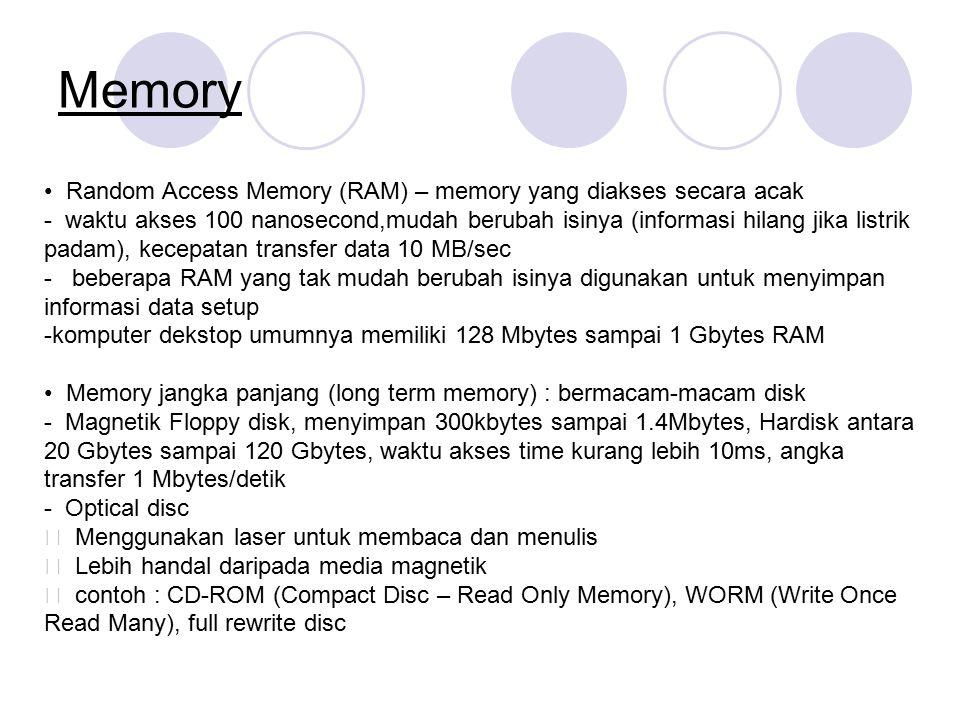 Memory • Random Access Memory (RAM) – memory yang diakses secara acak