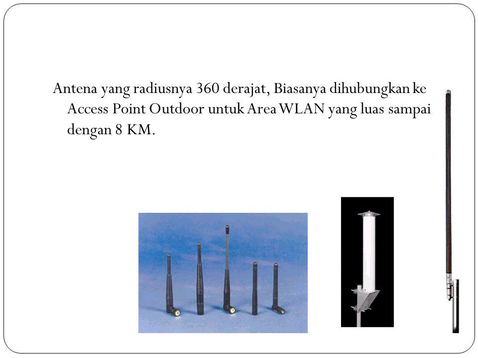 Antena yang radiusnya 360 derajat, Biasanya dihubungkan ke Access Point Outdoor untuk Area WLAN yang luas sampai dengan 8 KM.
