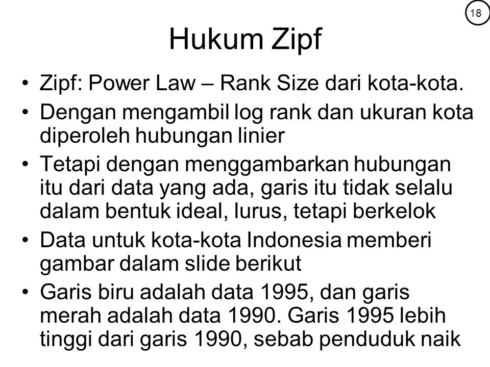 Hukum Zipf Zipf: Power Law – Rank Size dari kota-kota.