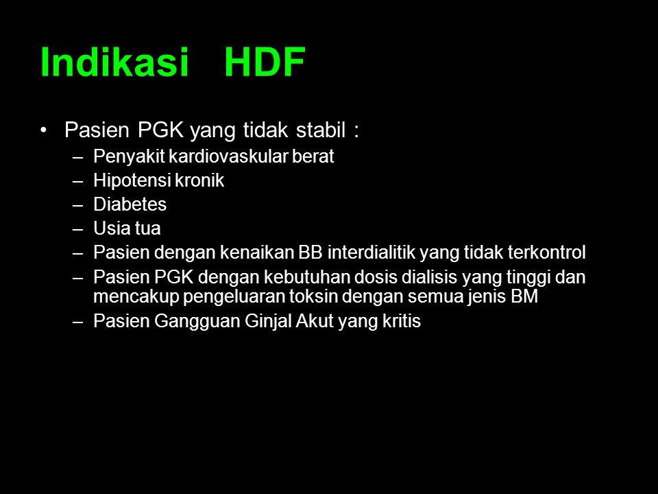 Indikasi HDF Pasien PGK yang tidak stabil :