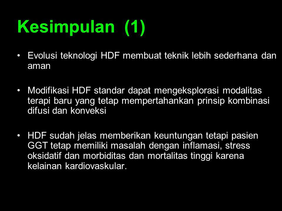 Kesimpulan (1) Evolusi teknologi HDF membuat teknik lebih sederhana dan aman.