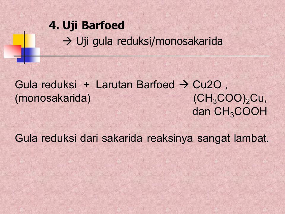 4. Uji Barfoed  Uji gula reduksi/monosakarida. Gula reduksi + Larutan Barfoed  Cu2O ,