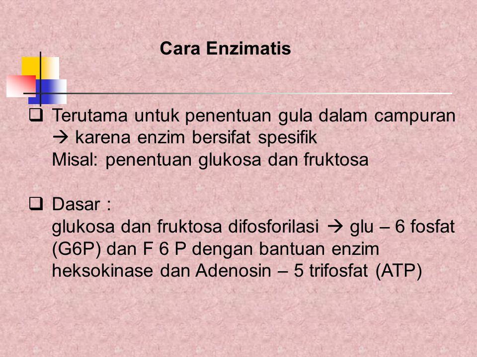 Cara Enzimatis Terutama untuk penentuan gula dalam campuran.  karena enzim bersifat spesifik. Misal: penentuan glukosa dan fruktosa.
