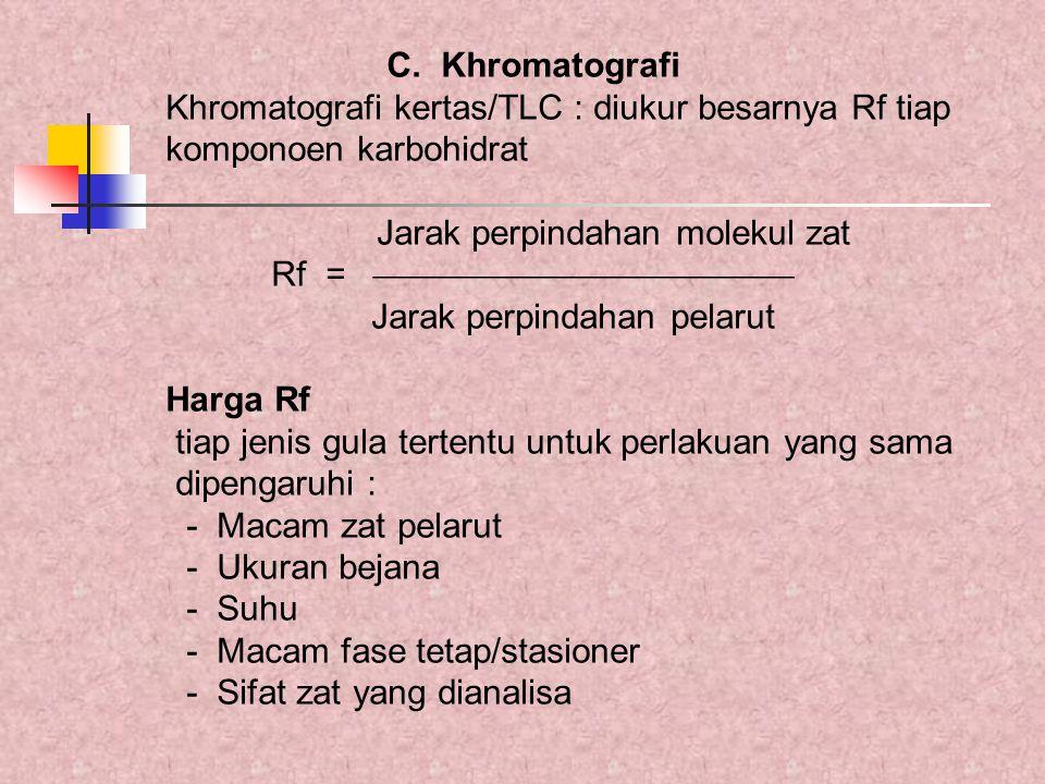 C. Khromatografi Khromatografi kertas/TLC : diukur besarnya Rf tiap. komponoen karbohidrat. Jarak perpindahan molekul zat.