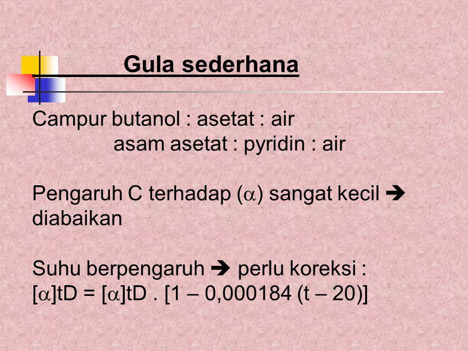 Gula sederhana Campur butanol : asetat : air
