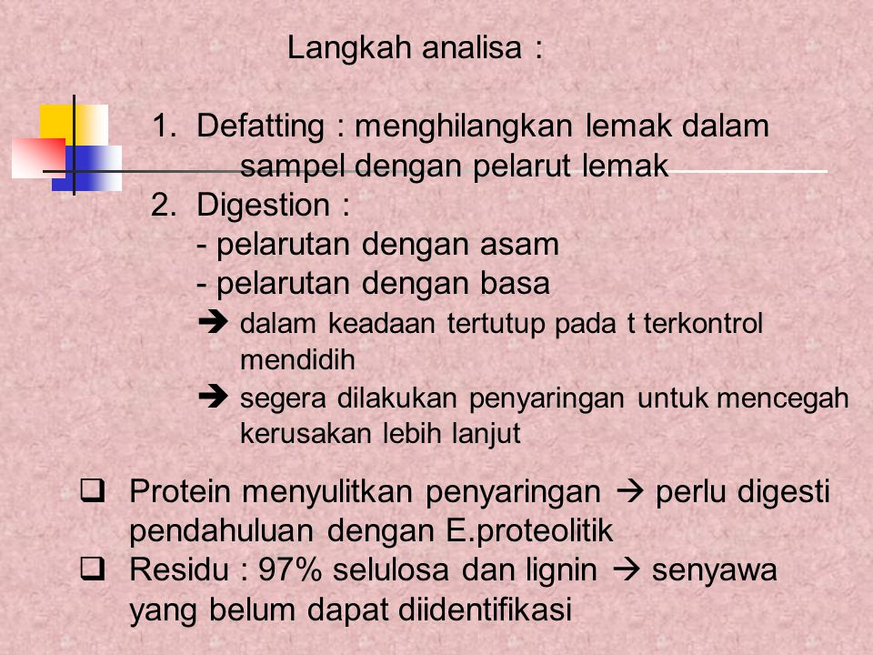 Langkah analisa : 1. Defatting : menghilangkan lemak dalam sampel dengan pelarut lemak. 2. Digestion :