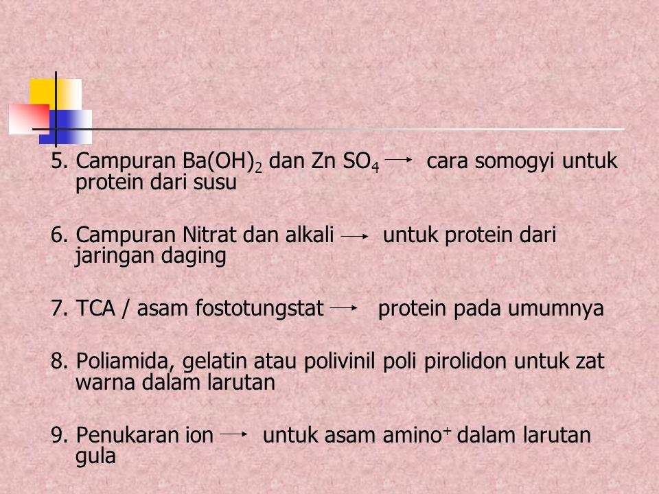5. Campuran Ba(OH)2 dan Zn SO4 cara somogyi untuk protein dari susu