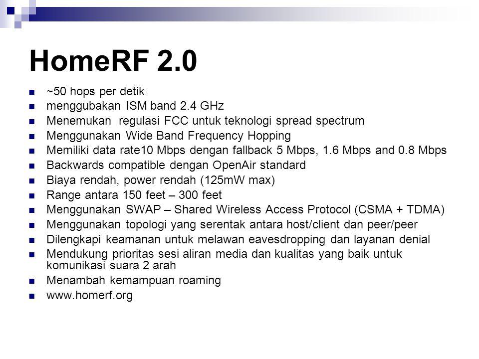 HomeRF 2.0 ~50 hops per detik menggubakan ISM band 2.4 GHz