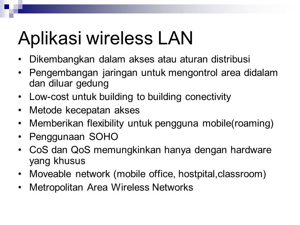 Aplikasi wireless LAN Dikembangkan dalam akses atau aturan distribusi