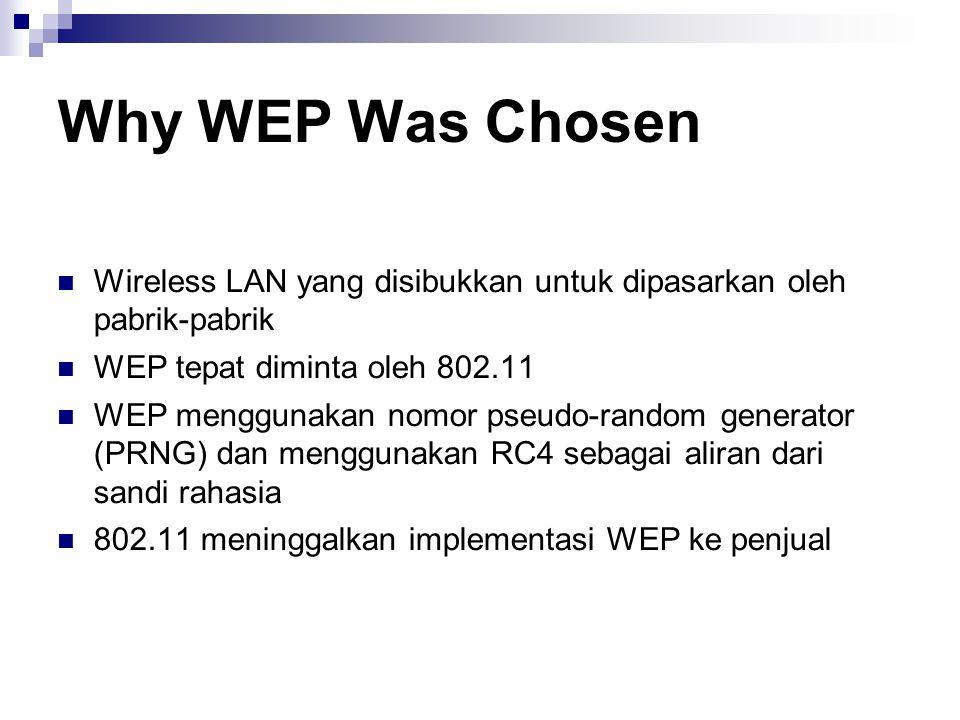 Why WEP Was Chosen Wireless LAN yang disibukkan untuk dipasarkan oleh pabrik-pabrik. WEP tepat diminta oleh 802.11.