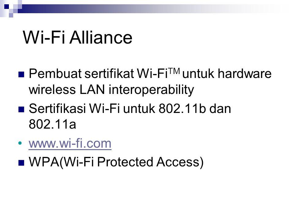 Wi-Fi Alliance Pembuat sertifikat Wi-FiTM untuk hardware wireless LAN interoperability. Sertifikasi Wi-Fi untuk 802.11b dan 802.11a.