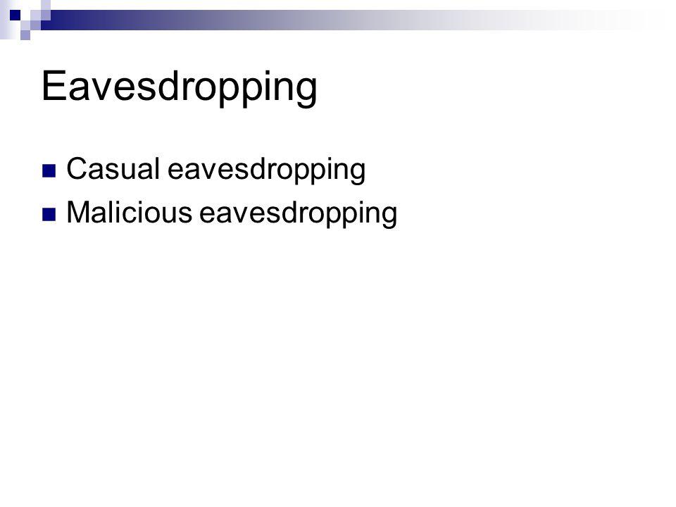 Eavesdropping Casual eavesdropping Malicious eavesdropping