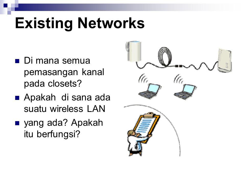 Existing Networks Di mana semua pemasangan kanal pada closets
