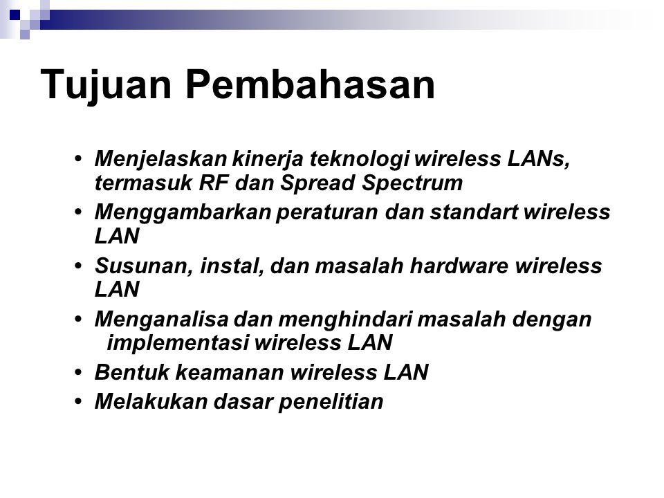 Tujuan Pembahasan • Menjelaskan kinerja teknologi wireless LANs, termasuk RF dan Spread Spectrum.